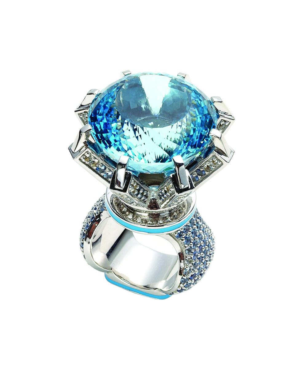 Sterling silver & blue topaz ring pavé set with sapphires and painted with enamel.