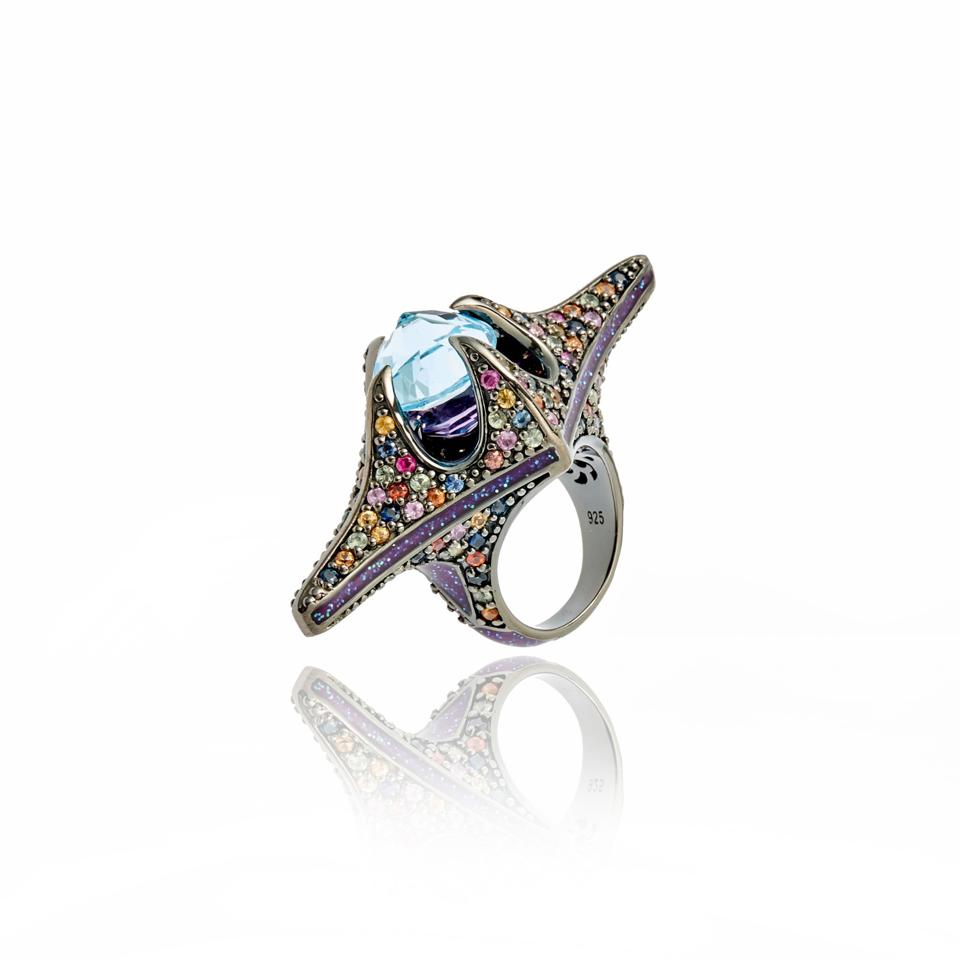 Colored sapphire and sterling silver ring suitable for Ziggy Stardust or another rock star