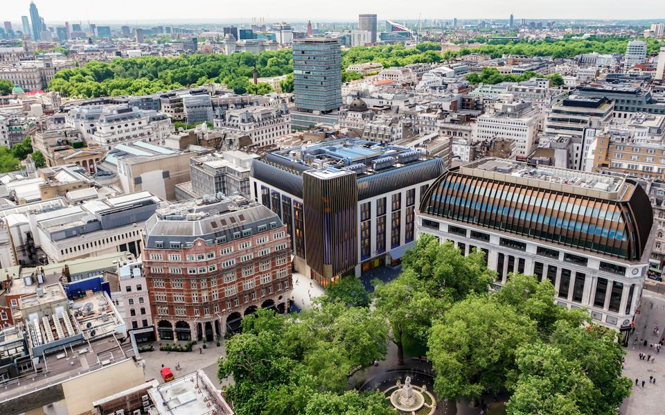 An aerial view of The Londoner and its surroundings.