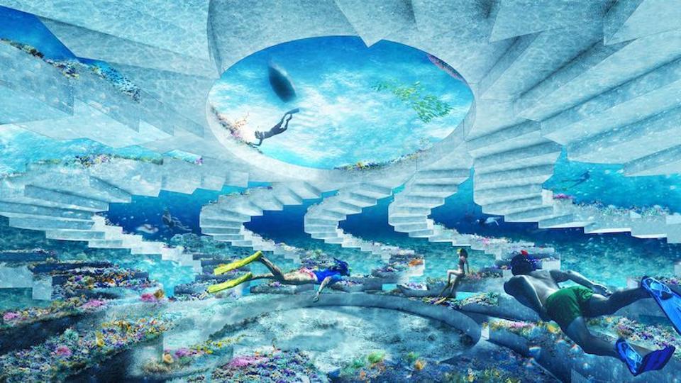 Illustration of people diving around an underwater art installation
