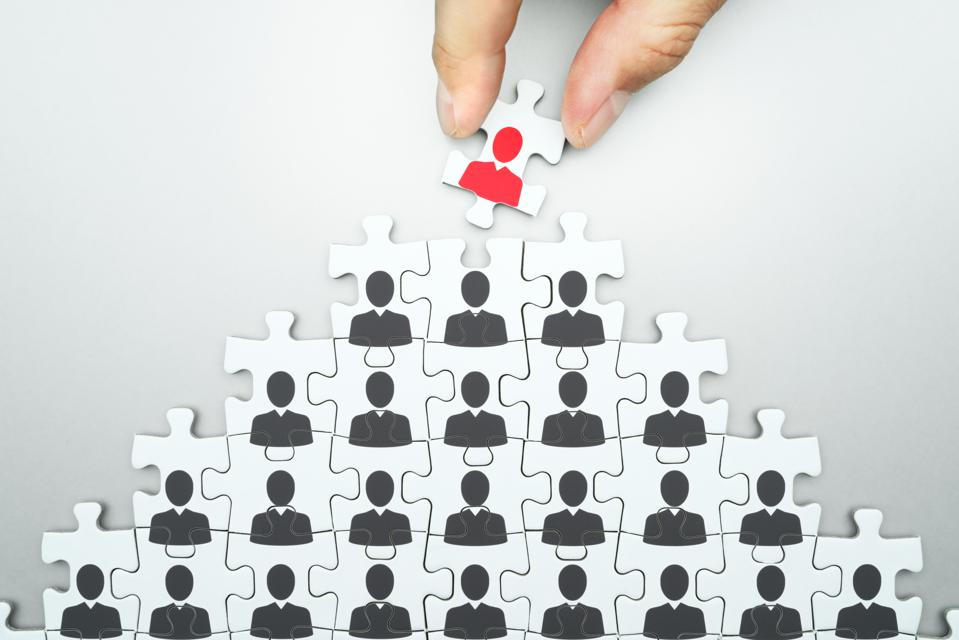 Selecting leader of business organization. Human resource management. Head hunting.