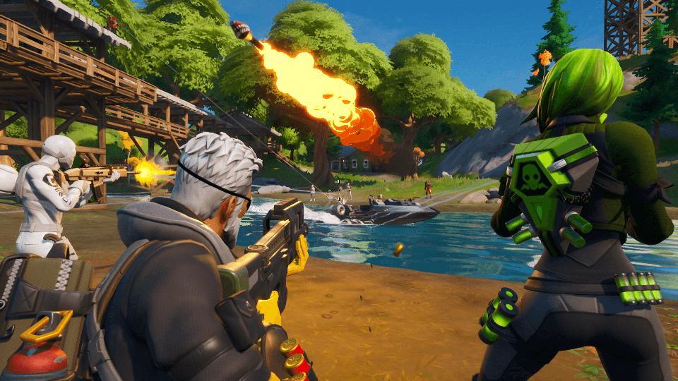 Fortnite players shoot a boat.