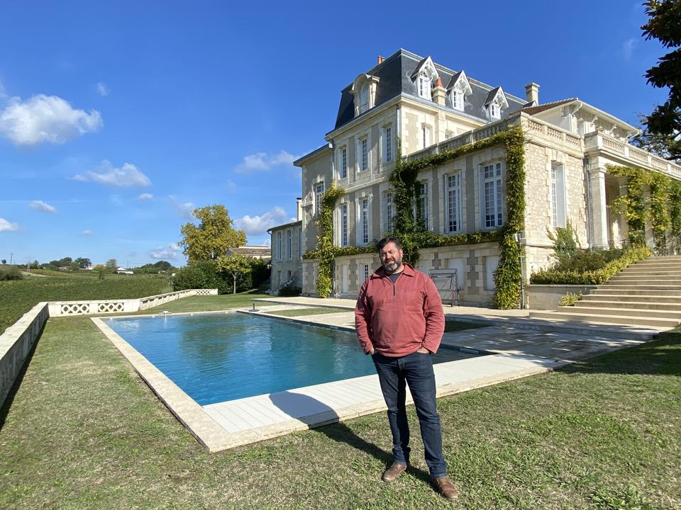 Winemaker Damien Landouar outside Château Gaby in Fronsac, Bordeaux
