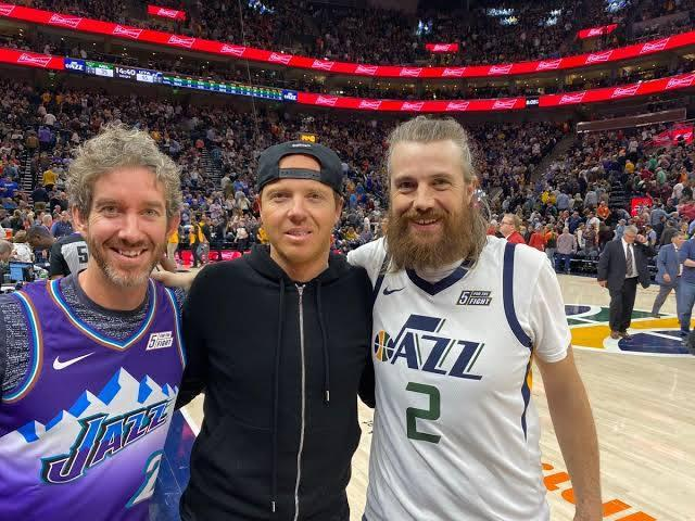 Atlassian cofounders Mike Cannon-Brookes and Scott Farquhar with Qualtrics' Ryan Smith