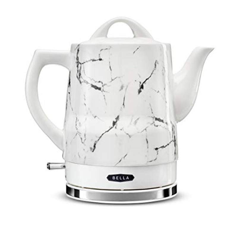 BELLA 1.5 Liter Electric Ceramic Tea Kettle with Boil Dry Protection & Detachable Swivel Base, White Marble, Model 14743