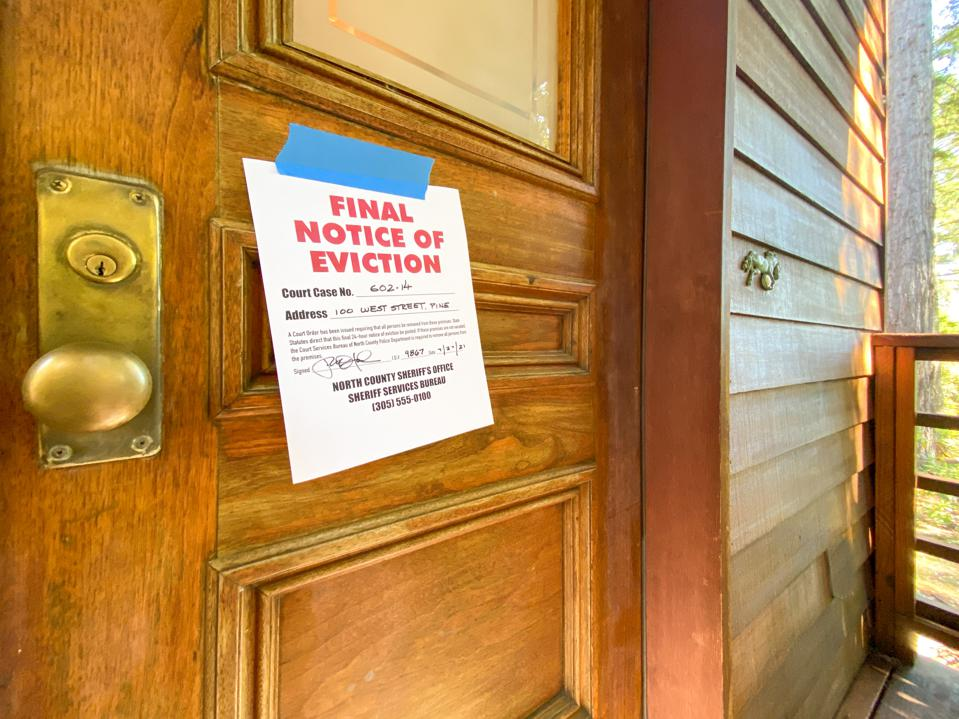Eviction notice on door of house