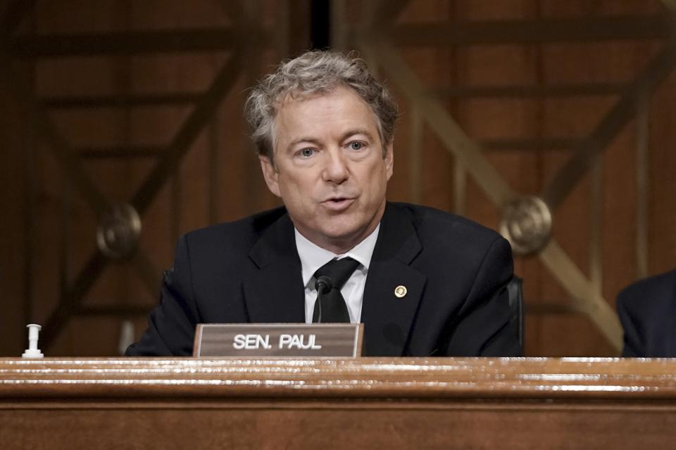 Sen. Rand Paul, R-Ky., asks questions during a Senate Homeland Security & Governmental Affairs Committee hearing to discuss election security and the 2020 election process on Wednesday, Dec. 16, 2020, on Capitol Hill in Washington. (Greg Nash/Pool via AP)
