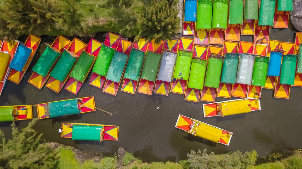 Beautiful aerial view of the canals of Xochimilco in Mexico City