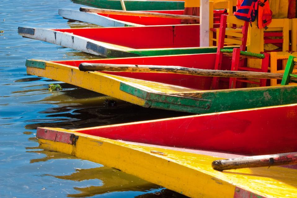 Colorful Xochimilco trajinera boat in Mexico City.