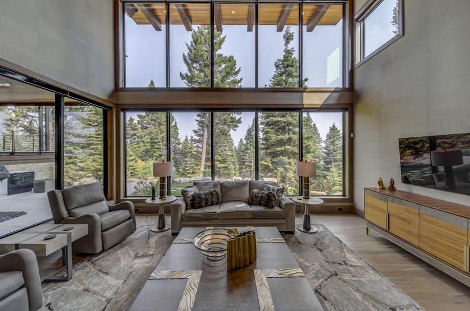 Huge windows at custom home in the mountains