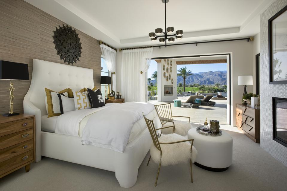 Bedroom with view of mountains