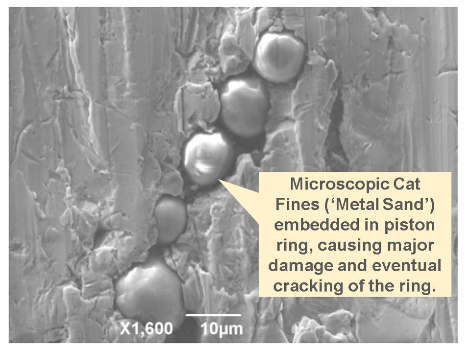 Microscopic grains of metal sand get embedded in the rapidly moving Pistons and Piston Rings, and cause cracking and eventual breaking of these large metallic rings that are critical to how a ship engine functions