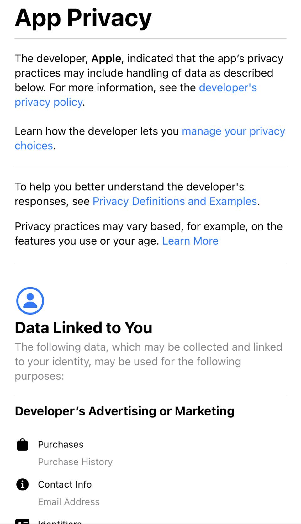Apple TV app app privacy data linked to you