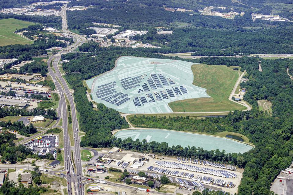 Georgia, Atlanta, aerial view from aircraft window, Hickory Ridge Landfill, Exposed Geomembrane Solar Cover, EGSC, Carlisle Energy Services