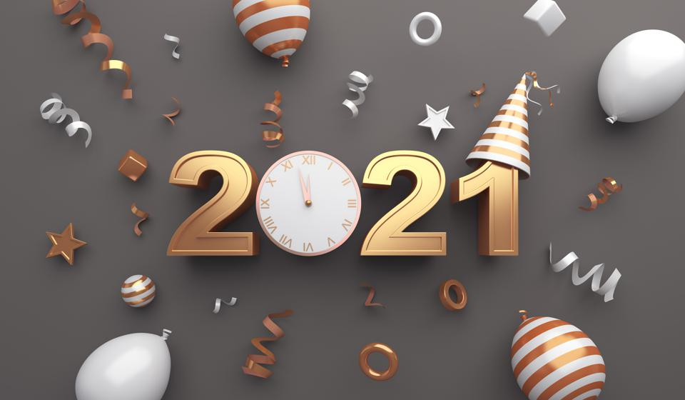 Happy new year 2021 background concept with clock, party hat, balloon, ribbon, 3D rendering illustration showing importance of keeping new year resolutions