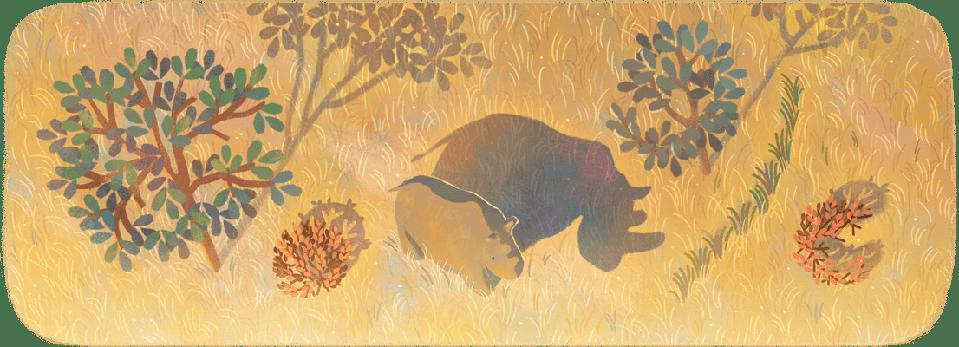 Color illustration of a rhino standing in a savanna landscape