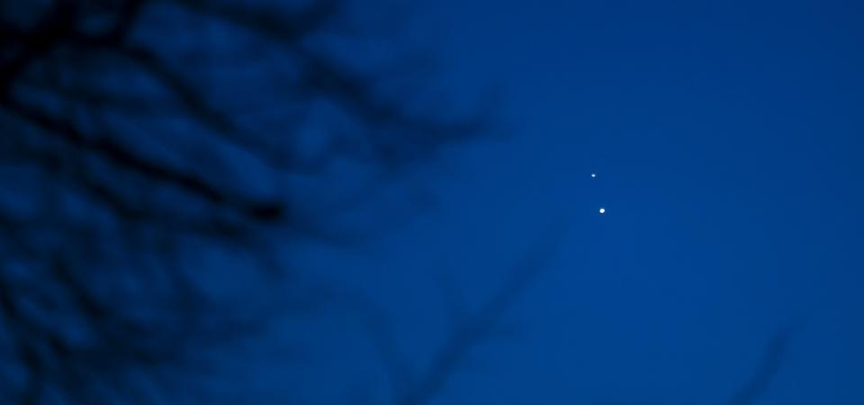 The ″great conjunction″ of Jupiter (below) and Saturn (above) taken from Cardiff, Wales, UK on December 20, 2020.