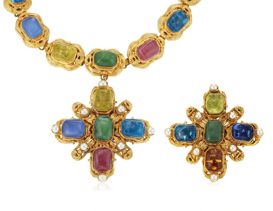 Chanel Gripoix glass necklace and brooch, $3,000 - $5,000