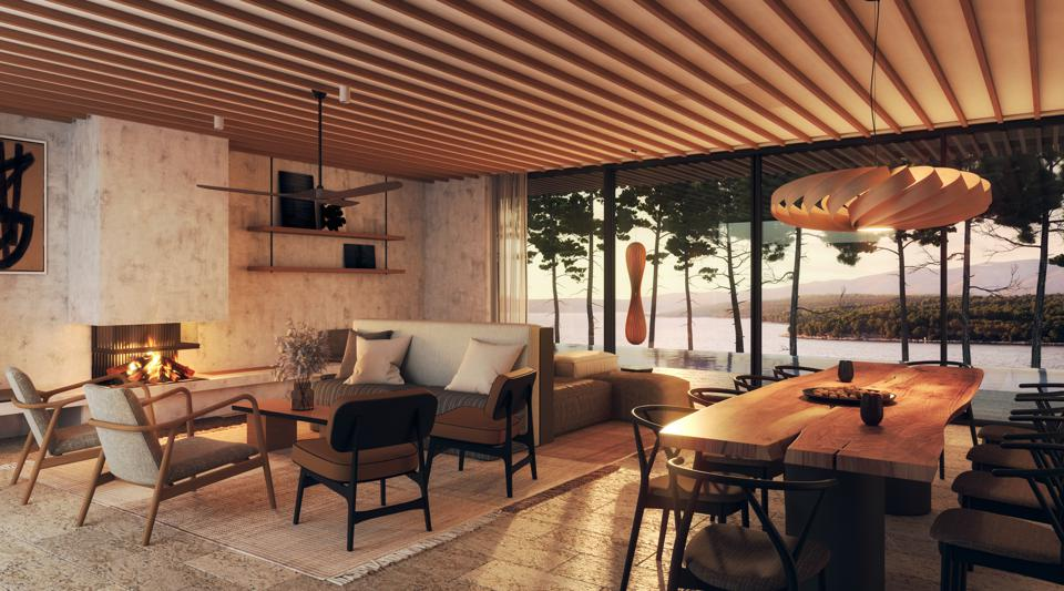 The villa at Maslina Resort on Hvar, Croatia, has views over the Adriatic Sea