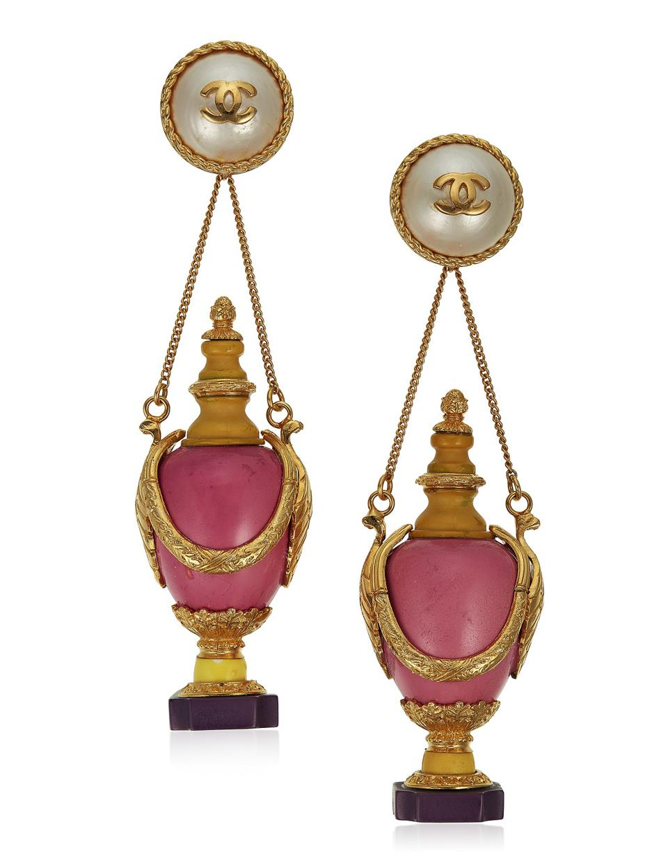 Important unsigned Chanel oversized faux pearl and resin earrings, $3,000 - $5,000