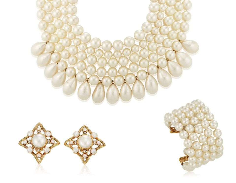Chanel faux pearl necklace and bracelet, $3,000 - 5,000
