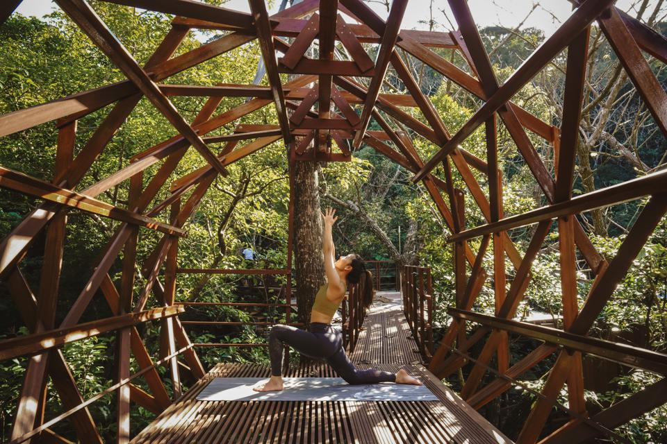 A woman does yoga amid the treetops at the Treeful Treehouse Resort in Okinawa, Japan