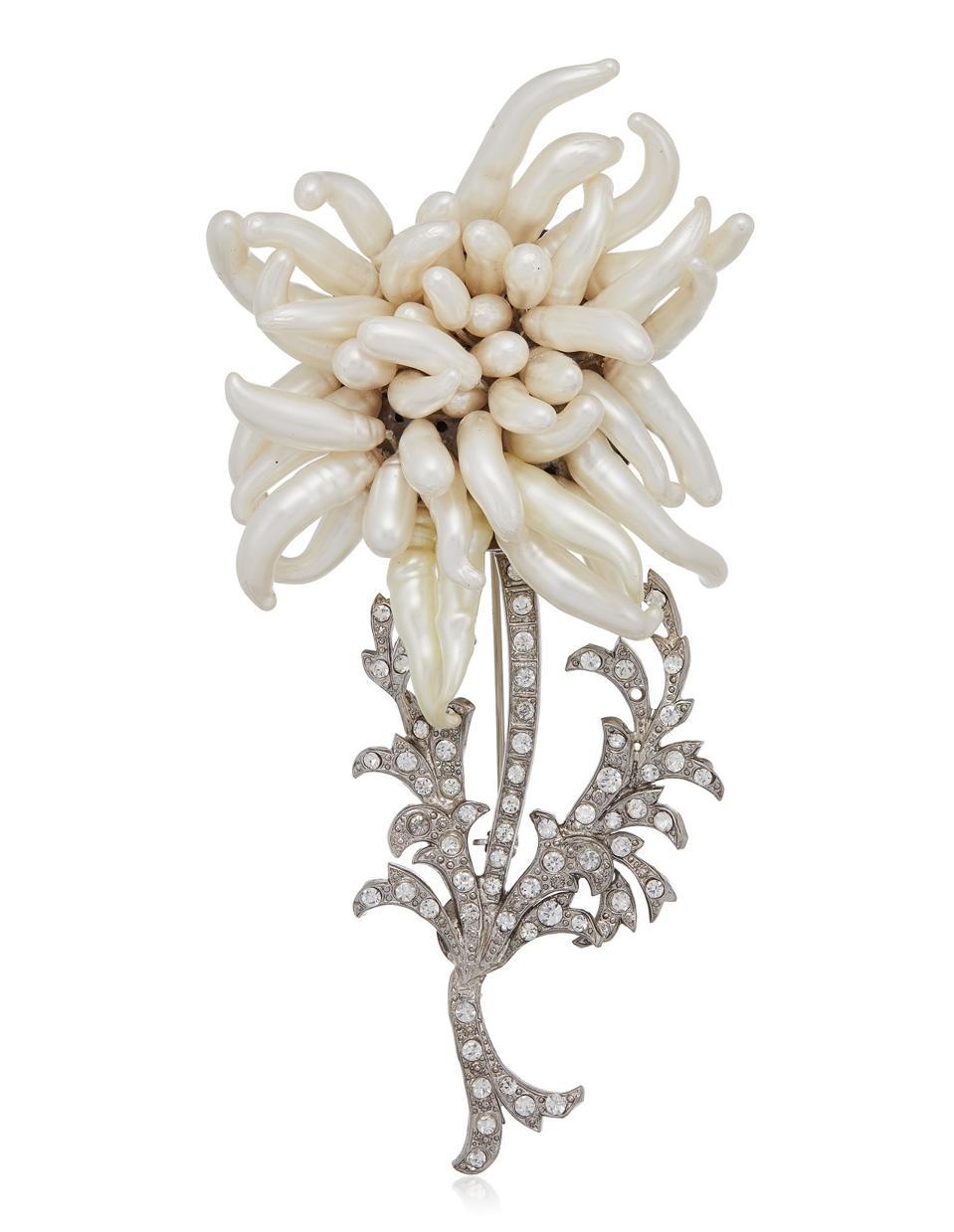 Chanel faux pearl and rhinestone brooch, $2,000 - $3,000