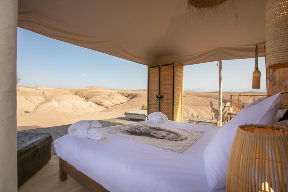 The tents at the luxury Inara Camp near Marrakech, Morocco, have views over the desert