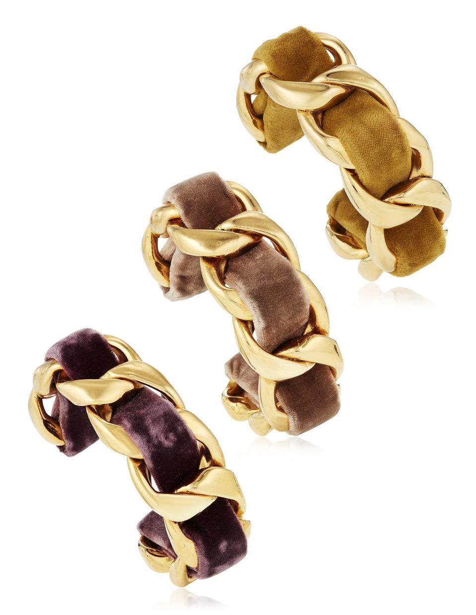 Unsigned chanel set of three velvet cuff bracelets, $1,000 - $1,500