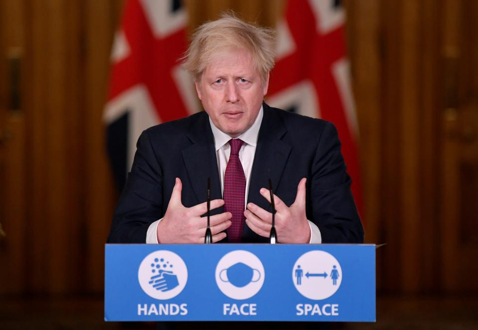 UK PM Johnson Delivers Virtual Press Conference From Downing Street