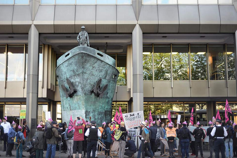 London-based headquarters of the UN shipping agency, the IMO, became the focus for protests against ship pollution