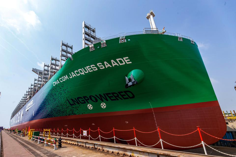 Liquified Natural Gas (LNG) - powered ships were one option for how to meet the 0.5% sulfur dioxide target.  However, it would require the building of new ships.  Seen here, the largest LNG-powered container ship launched from China in Sep 2019.