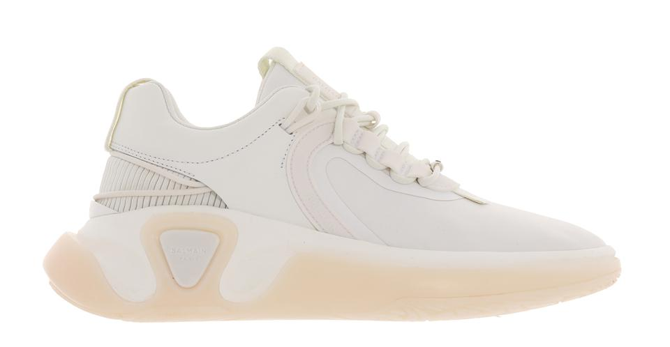 White gummy leather and mesh B-Runner sneakers