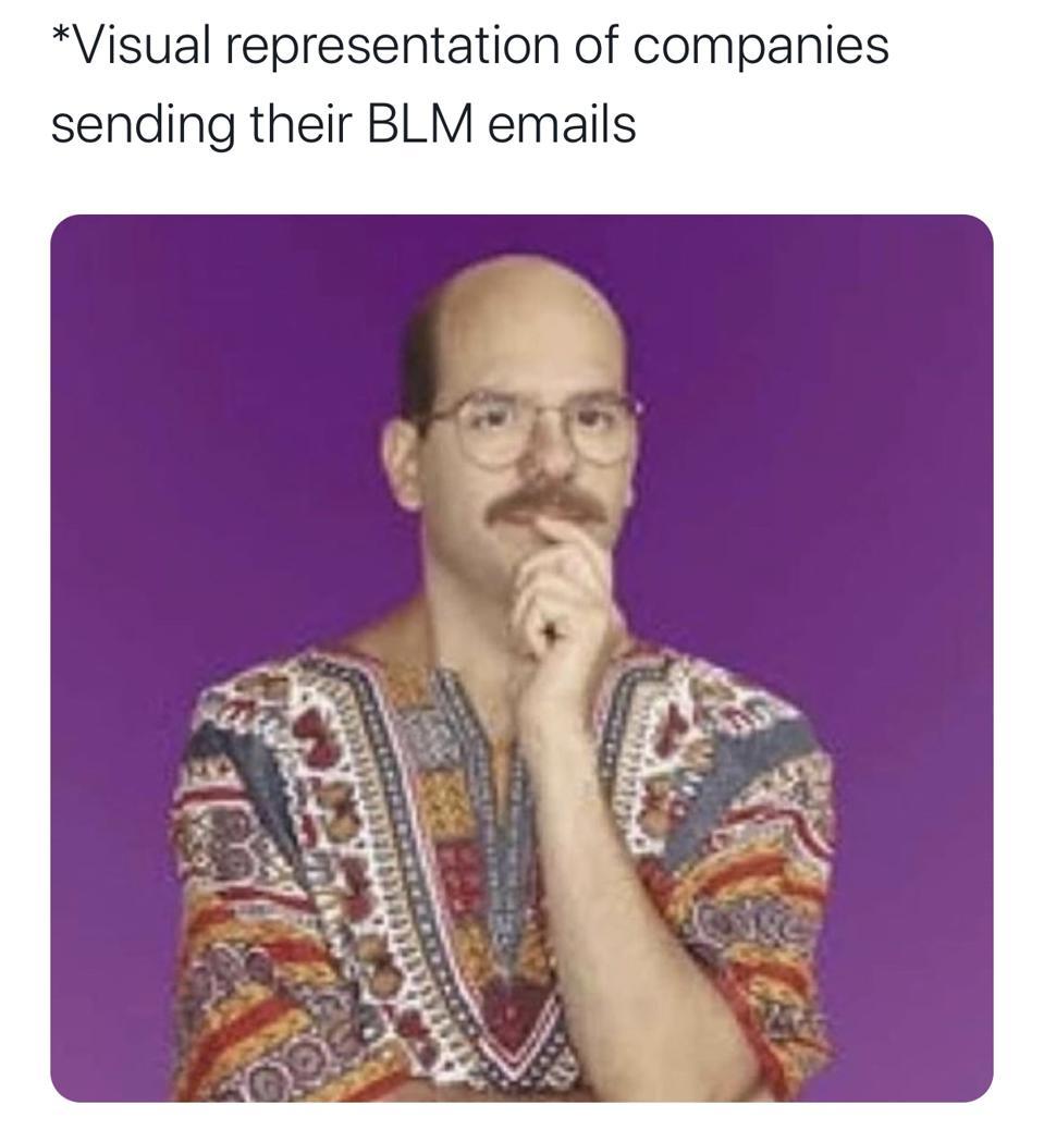 visual representation of companies sending their BLM emails meme