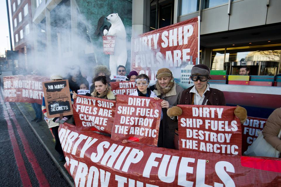 17 Feb 2020: Environmentalists from Extinction Rebellion climate action group protest outside the International Maritime Organisation in London against pollution in the Arctic as delegates meet for a week-long pollution meetings.