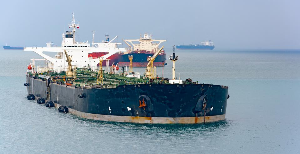 Over 60 giant oil super tankers were used to store jet fuel from Changi Airport off the coast of Singapore