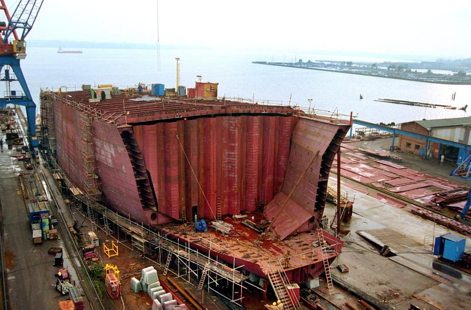 A double hulled tanker being built in Germany.  The additional layer of strength seen on the side of the vessel (called a double-hull), would have prevented VLSFO from leaking in Mauritius, if this law had been passed by the IMO.