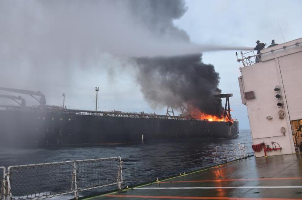 Fire raging on board the MT New Diamond off the coast of Sri Lanka in September, caused by an explosion by the Bridge.  Was this VLSFO-related?