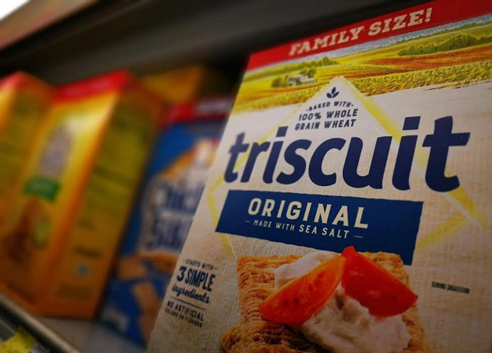 A packet of 'Triscuit' crackers, a baked biscuit with just three ingredients.