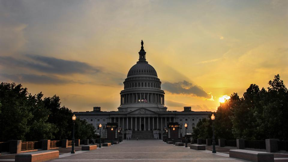 The United States Capitol Against a Golden Sunset in Washington DC