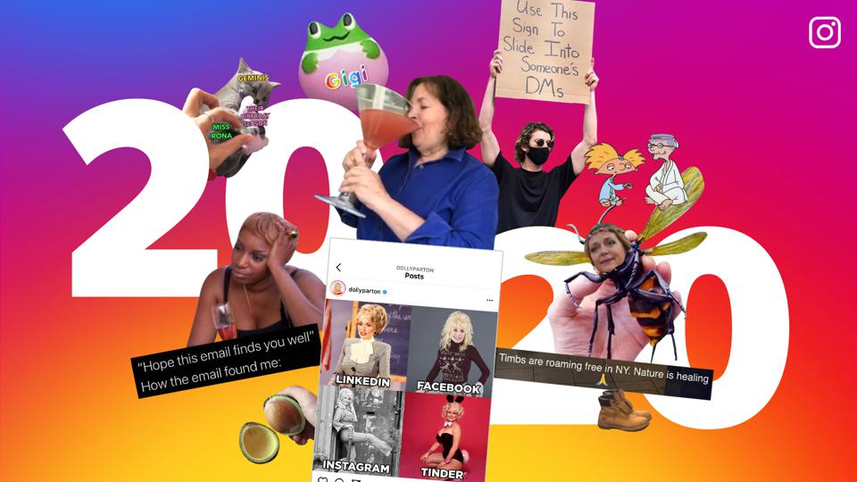 2020 with the top memes of the year including Dolly Parton and Tiger King