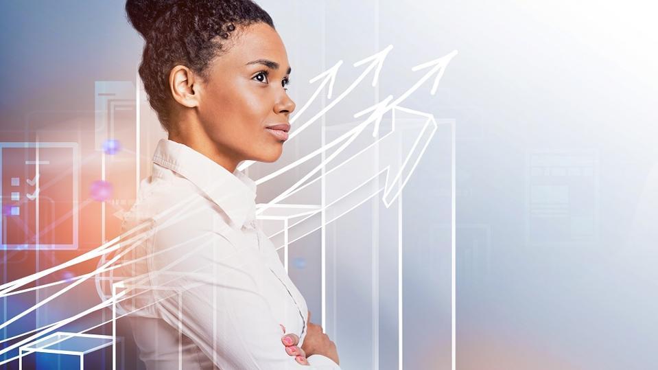 Confident woman, business growth concept