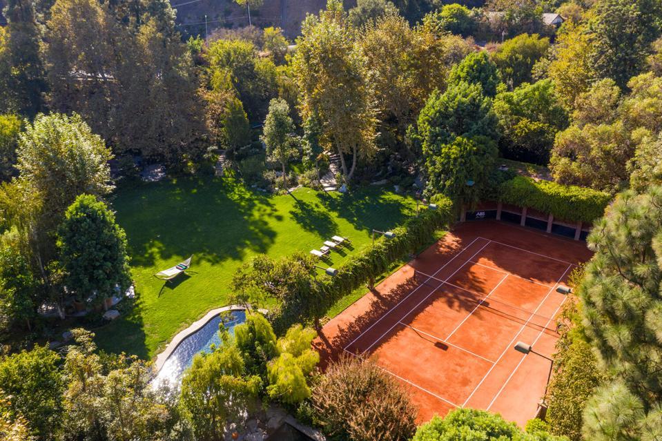 A tennis court estate.