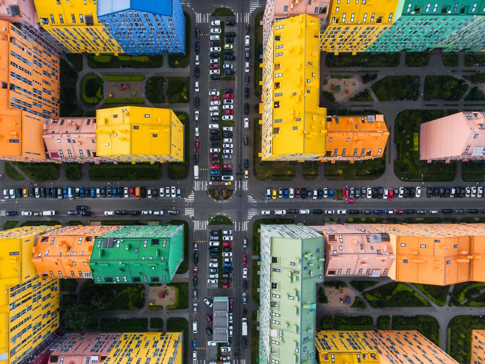 Rainbow houses aerial view