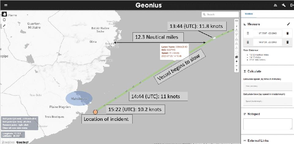 Satellite analysis from Geollect reveals the Wakashio was heading directly for the town of Mahebourg, and the entire coastline of Mauritius (including large mountains) would have been visible for hours given the sunset time
