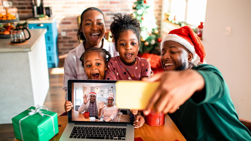 Virtual selfie with their Grandparents for Christmas