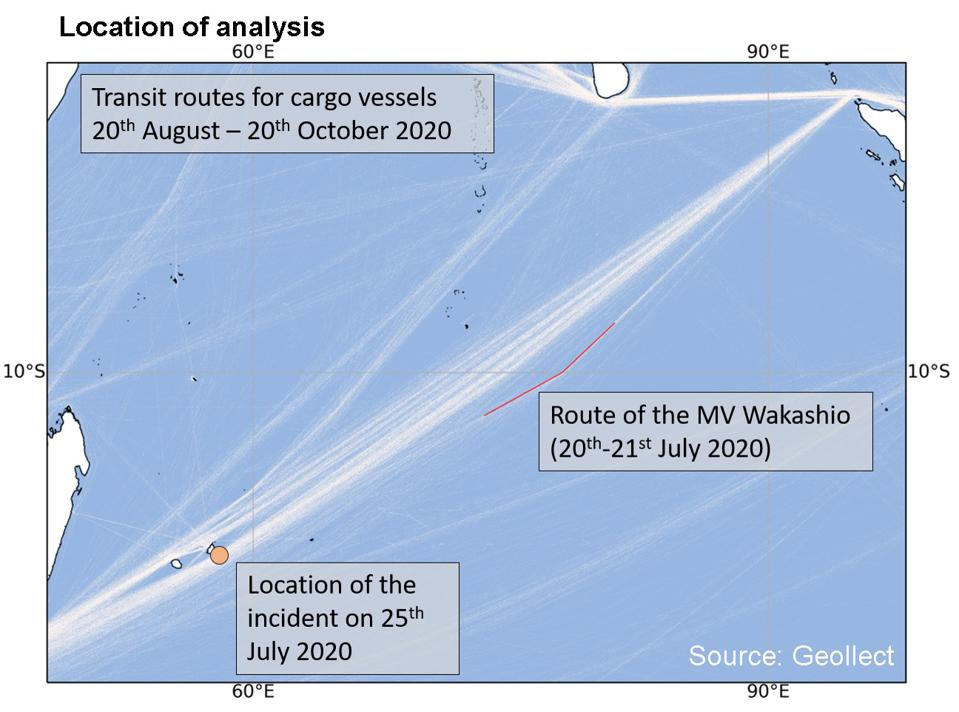 Geollect conducted a detailed analysis of the turn of the Wakashio on July 20-21