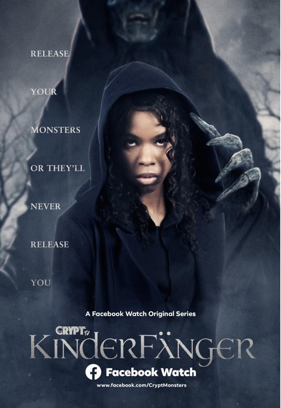 Movie poster for the show Kinderfänger featuring a Black woman with a monster behind her.