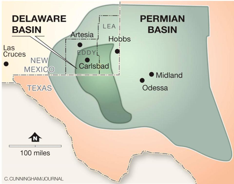 The Delaware basin is part of the Permian basin in southeastern New Mexico.