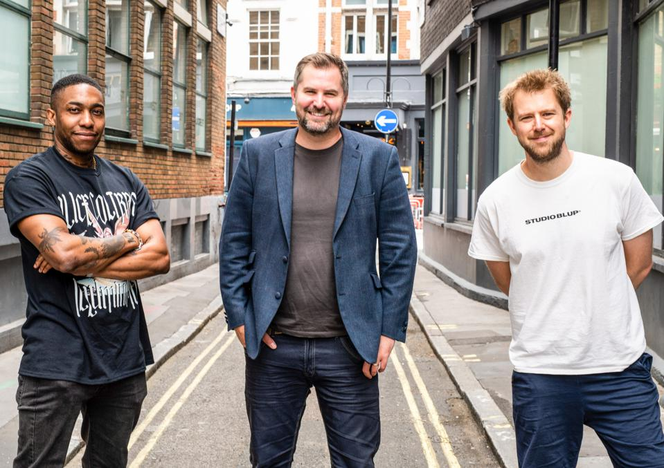 Jonny Tooze, CEO of LAB Group (centre) with colleagues Dines, Co-Founder of Studio BLUP (left) and Alex Evans COO of Studio BLUP (right)